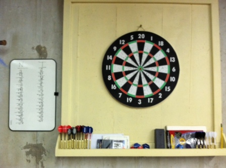 Dartboard with Backboard and Whiteboard.  The score is still up because I won. I erase it right away when I lose.