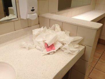 ladies room trash